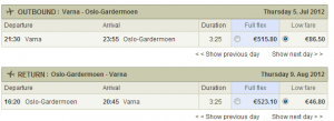 Евтини самолетни билети от Варна до Осло